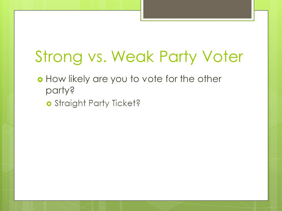 Strong vs. Weak Party Voter  How likely are you to vote for the other party?  Straight Party Ticket?