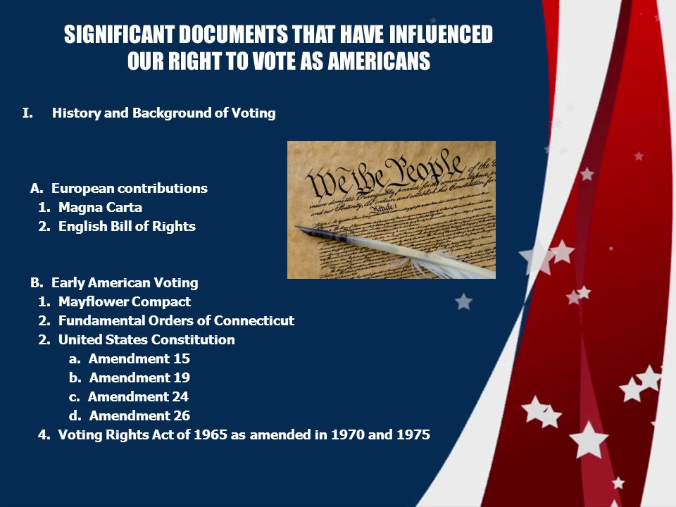 SIGNIFICANT DOCUMENTS THAT HAVE INFLUENCED OUR RIGHT TO VOTE AS AMERICANS I.History and Background of Voting A.