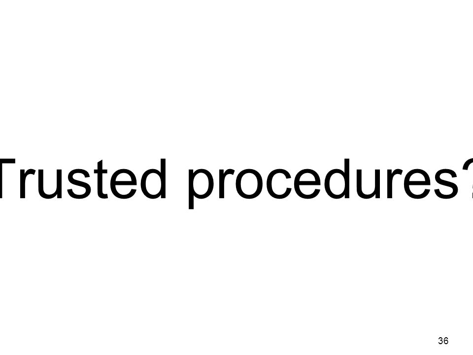 Trusted procedures 36