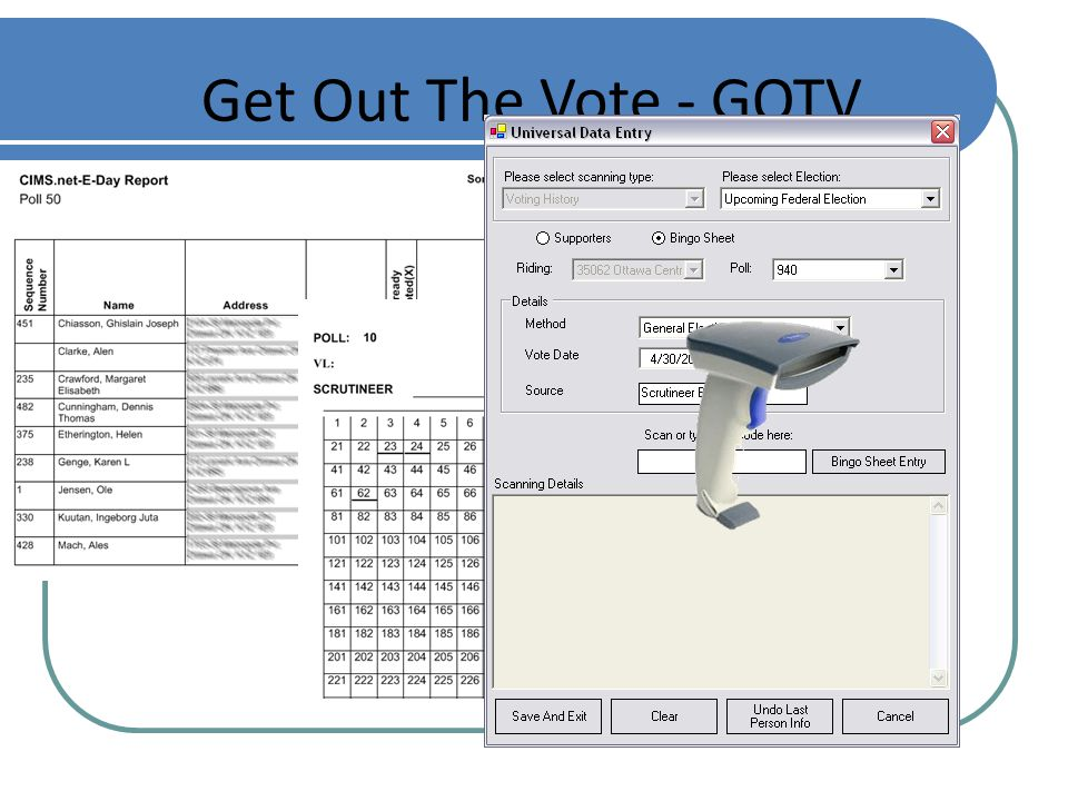 Get Out The Vote - GOTV Find supporters and make sure they get out and vote