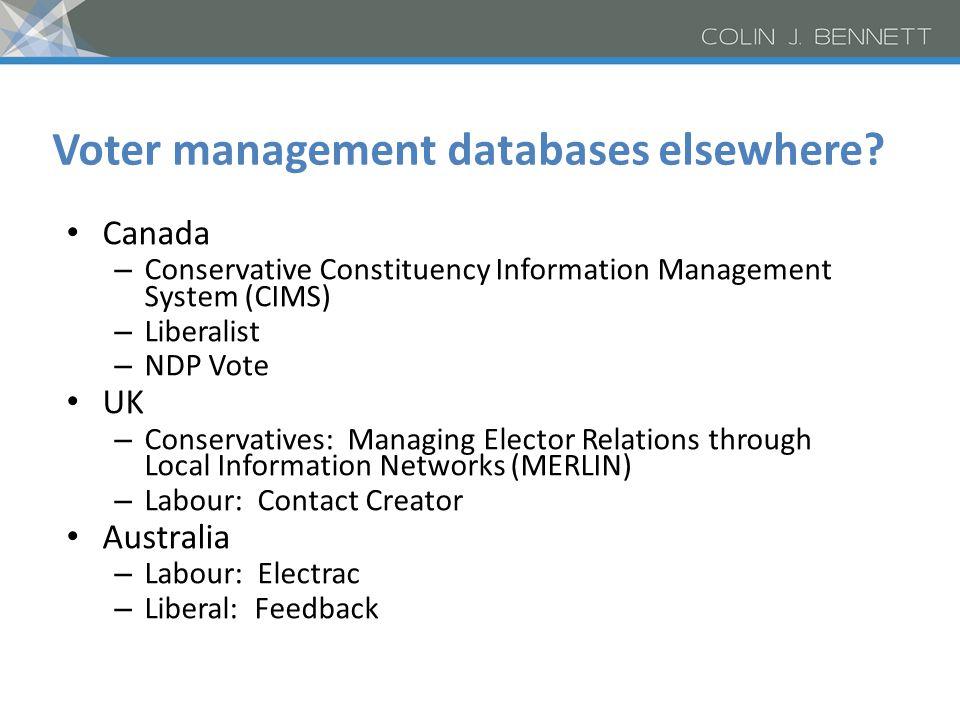 Voter management databases elsewhere? Canada – Conservative Constituency Information Management System (CIMS) – Liberalist – NDP Vote UK – Conservativ