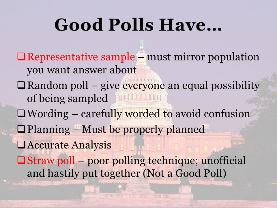   Representative sample – must mirror population you want answer about   Random poll – give everyone an equal possibility of being sampled   Wording – carefully worded to avoid confusion   Planning – Must be properly planned   Accurate Analysis   Straw poll – poor polling technique; unofficial and hastily put together (Not a Good Poll)