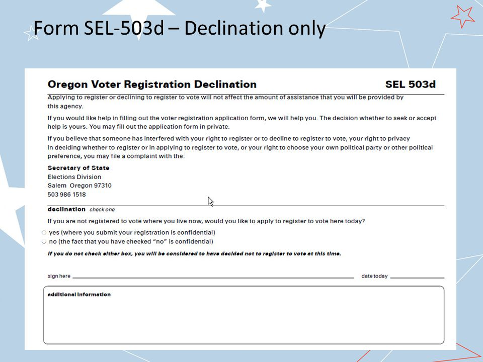 Form SEL-503d – Declination only