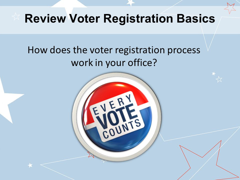 Review Voter Registration Basics How does the voter registration process work in your office?
