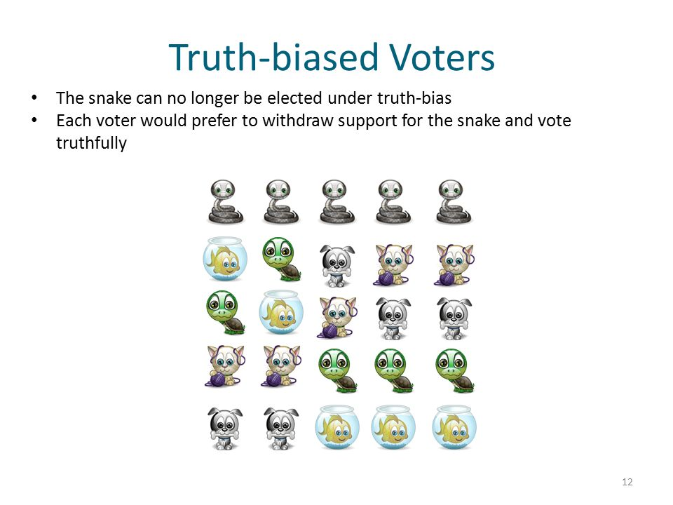 Truth-biased Voters The snake can no longer be elected under truth-bias Each voter would prefer to withdraw support for the snake and vote truthfully 12