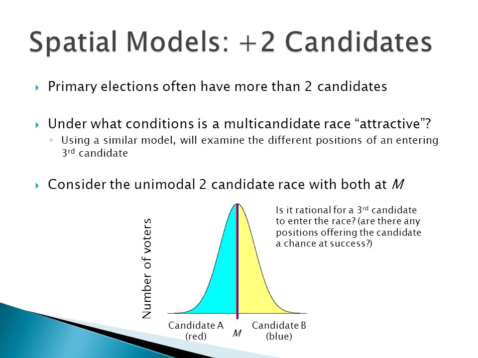 """ Primary elections often have more than 2 candidates  Under what conditions is a multicandidate race """"attractive""""? ◦ Using a similar model, will exa"""