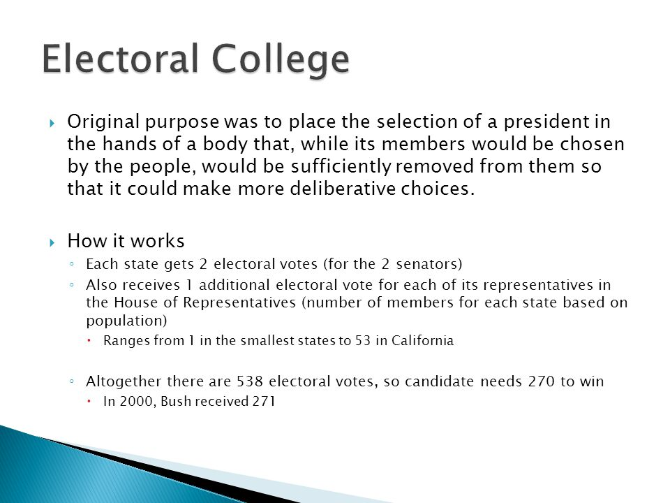  Original purpose was to place the selection of a president in the hands of a body that, while its members would be chosen by the people, would be su