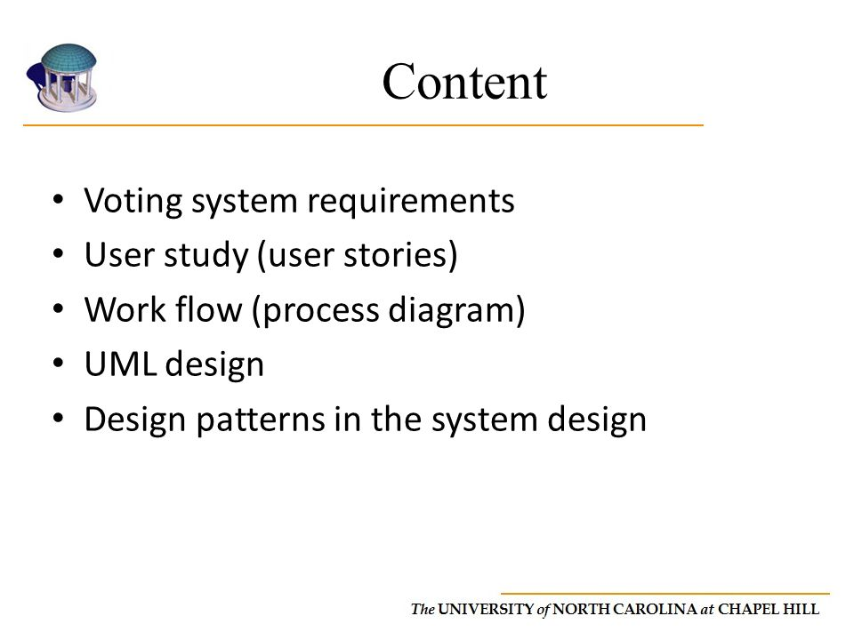 Content Voting system requirements User study (user stories) Work flow (process diagram) UML design Design patterns in the system design