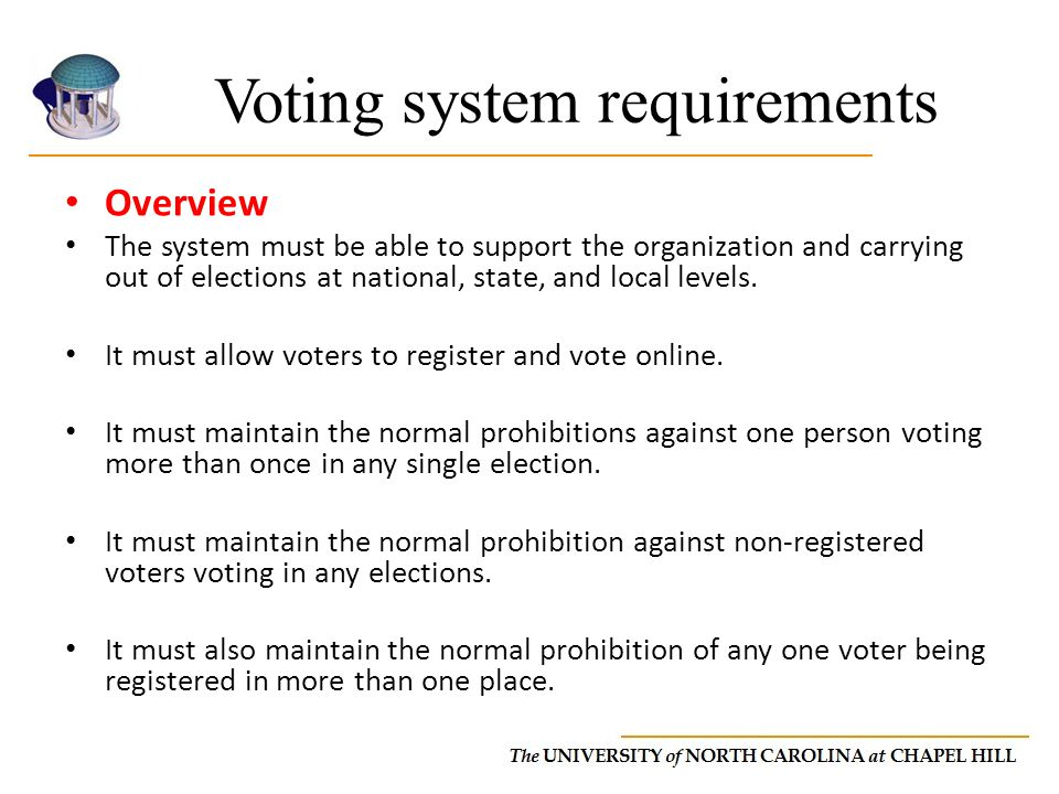 Voting system requirements Overview The system must be able to support the organization and carrying out of elections at national, state, and local levels.