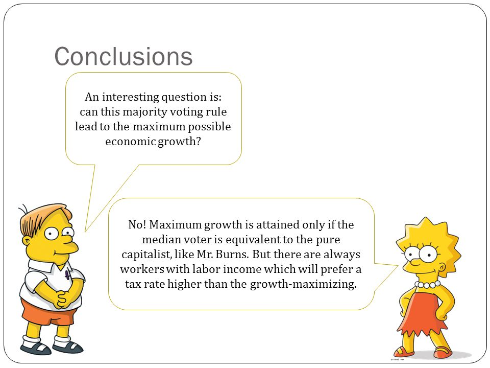 Conclusions So, the main conclusion of the model is: The more unequal is the distribution of income and wealth, the lower is the rate of growth of the economy.