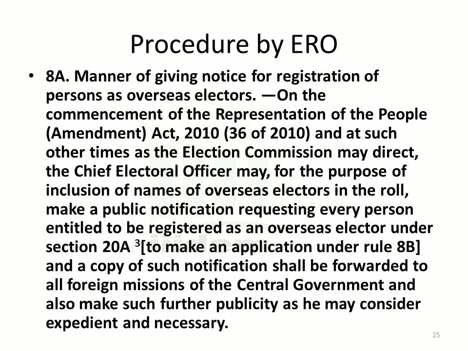 Procedure by ERO 8A. Manner of giving notice for registration of persons as overseas electors.