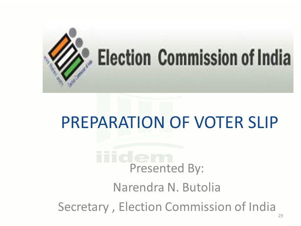 PREPARATION OF VOTER SLIP Presented By: Narendra N.