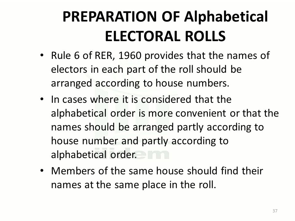 PREPARATION OF Alphabetical ELECTORAL ROLLS Rule 6 of RER, 1960 provides that the names of electors in each part of the roll should be arranged according to house numbers.