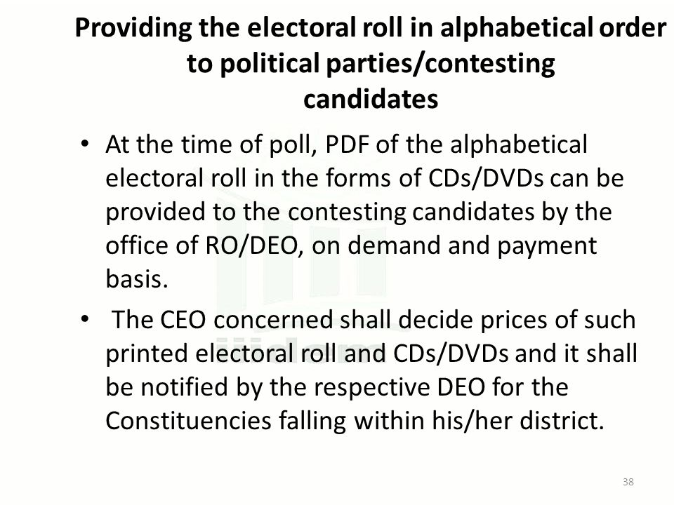 Providing the electoral roll in alphabetical order to political parties/contesting candidates At the time of poll, PDF of the alphabetical electoral r