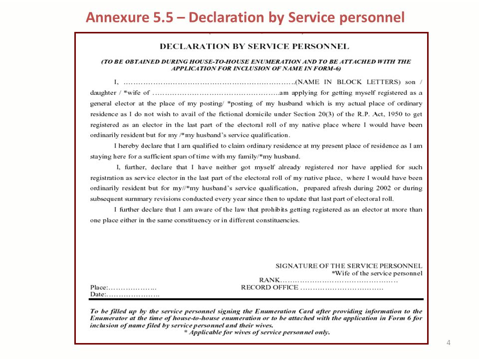 Annexure 5.5 – Declaration by Service personnel 4