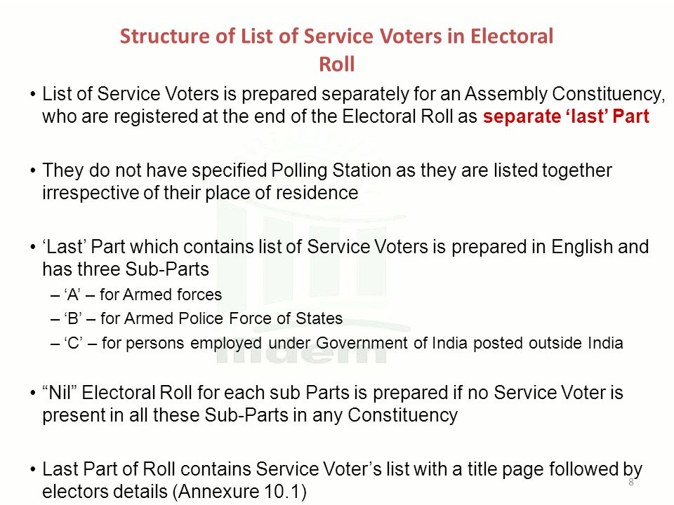 Structure of List of Service Voters in Electoral Roll List of Service Voters is prepared separately for an Assembly Constituency, who are registered a