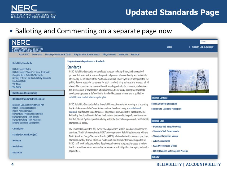 RELIABILITY | ACCOUNTABILITY5 Balloting and Commenting Information New Balloting and Commenting Page