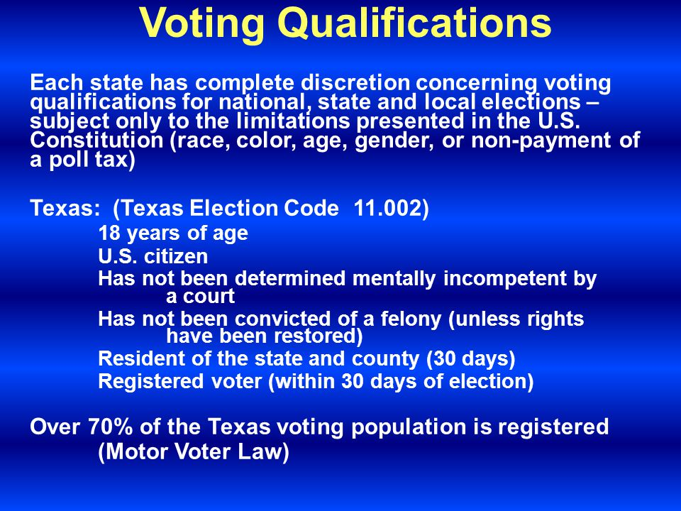 Voting Qualifications Each state has complete discretion concerning voting qualifications for national, state and local elections – subject only to the limitations presented in the U.S.