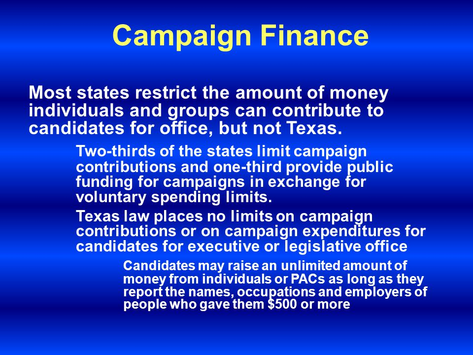 Campaign Finance Other money goes for campaign literature, office space, postage, telephones, polling, and consulting fees.