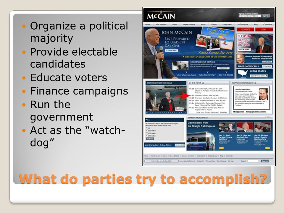 What do parties try to accomplish? Organize a political majority Provide electable candidates Educate voters Finance campaigns Run the government Act