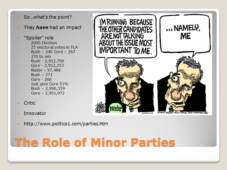 """The Role of Minor Parties So…what's the point? They have had an impact """"Spoiler"""" role ◦2000 Election ◦25 electoral votes in FLA ◦Bush – 246 Gore – 267"""