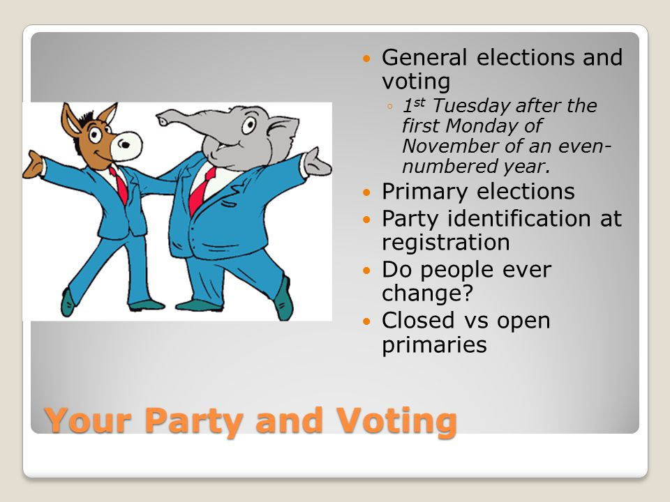 Your Party and Voting General elections and voting ◦1 st Tuesday after the first Monday of November of an even- numbered year. Primary elections Party