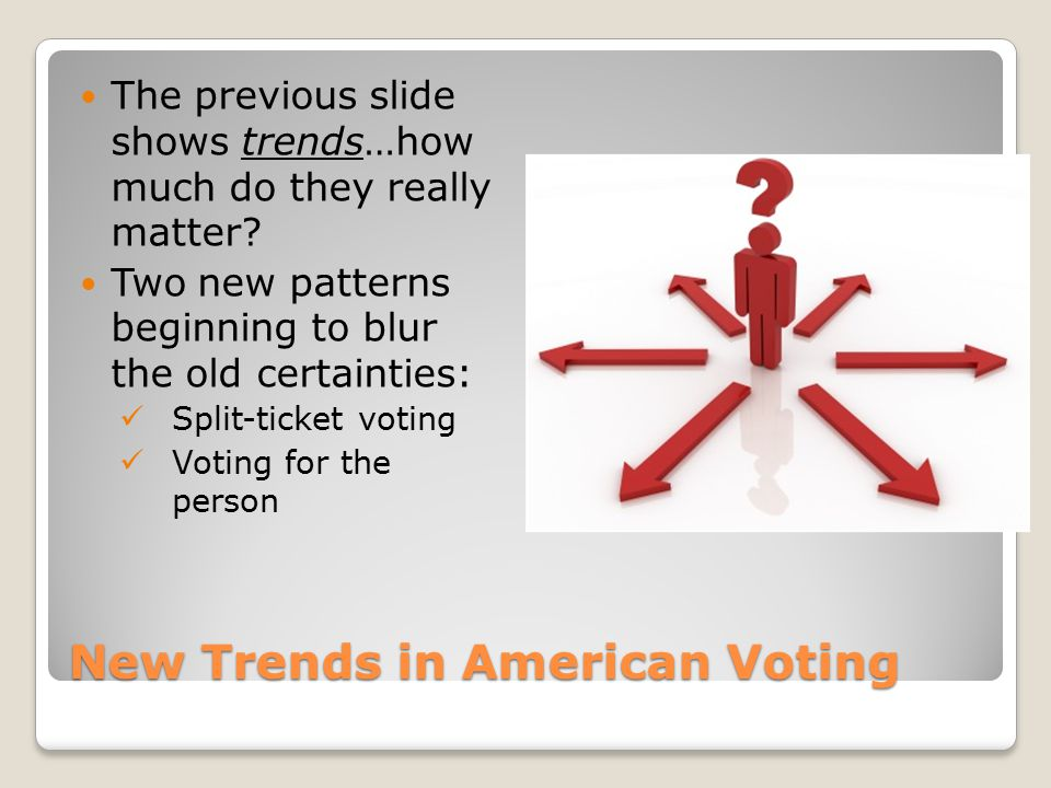 New Trends in American Voting The previous slide shows trends…how much do they really matter? Two new patterns beginning to blur the old certainties: