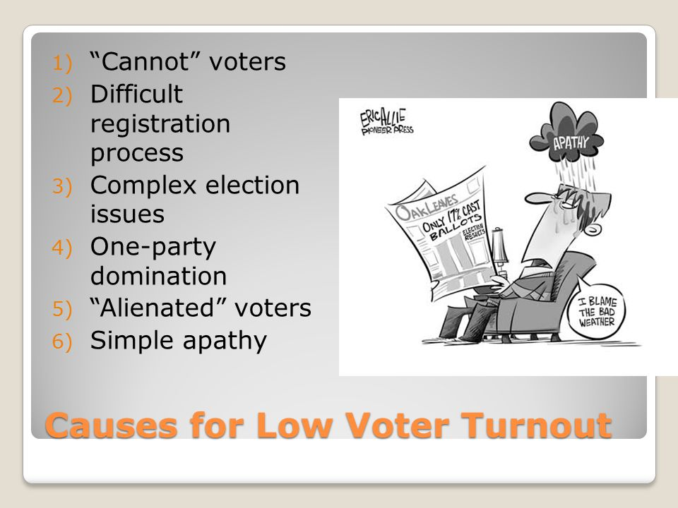 """Causes for Low Voter Turnout 1) """"Cannot"""" voters 2) Difficult registration process 3) Complex election issues 4) One-party domination 5) """"Alienated"""" vo"""