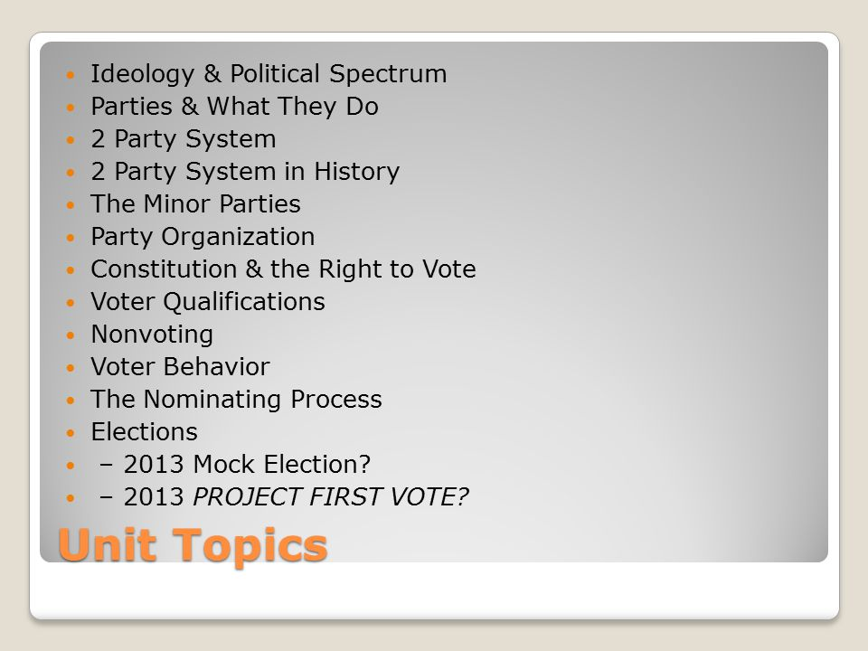 Unit Topics Ideology & Political Spectrum Parties & What They Do 2 Party System 2 Party System in History The Minor Parties Party Organization Constit