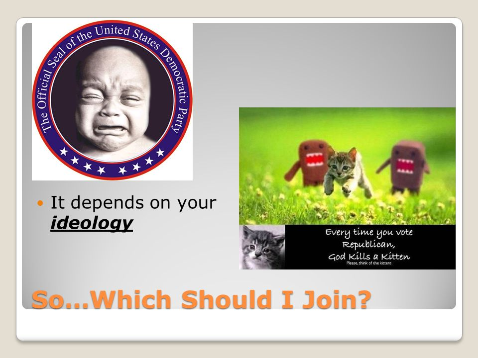 So…Which Should I Join? It depends on your ideology