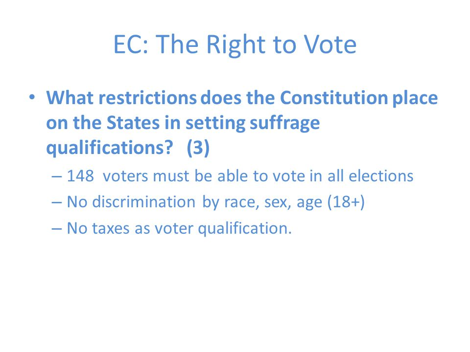 What restrictions does the Constitution place on the States in setting suffrage qualifications.