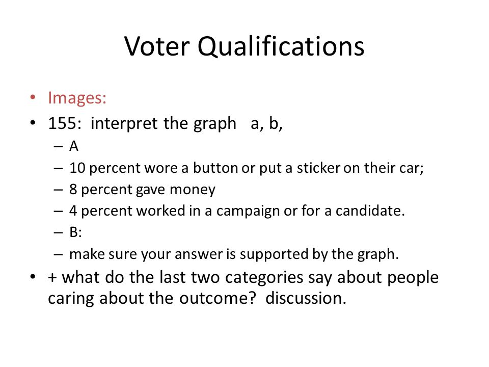 Images: 155: interpret the graph a, b, –A–A – 10 percent wore a button or put a sticker on their car; – 8 percent gave money – 4 percent worked in a campaign or for a candidate.