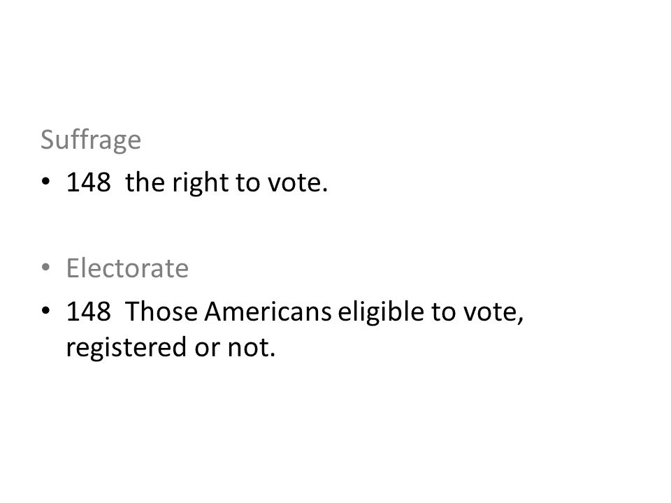 Suffrage 148 the right to vote. Electorate 148 Those Americans eligible to vote, registered or not.