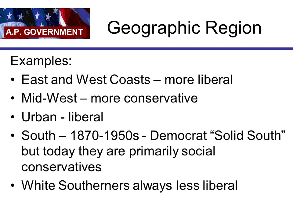 "Geographic Region Examples: East and West Coasts – more liberal Mid-West – more conservative Urban - liberal South – 1870-1950s - Democrat ""Solid Sout"