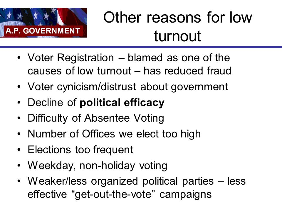 Other reasons for low turnout Voter Registration – blamed as one of the causes of low turnout – has reduced fraud Voter cynicism/distrust about govern