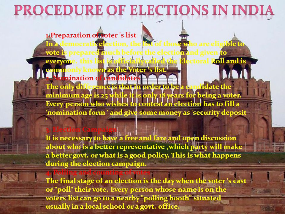 1.Preparation of voter s list In a democratic election, the list of those who are eligible to vote is prepared much before the election and given to everyone.