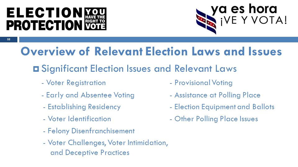 Overview of Relevant Election Laws and Issues  Significant Election Issues and Relevant Laws - Voter Registration- Provisional Voting - Early and Absentee Voting- Assistance at Polling Place - Establishing Residency- Election Equipment and Ballots - Voter Identification- Other Polling Place Issues - Felony Disenfranchisement - Voter Challenges, Voter Intimidation, and Deceptive Practices 32