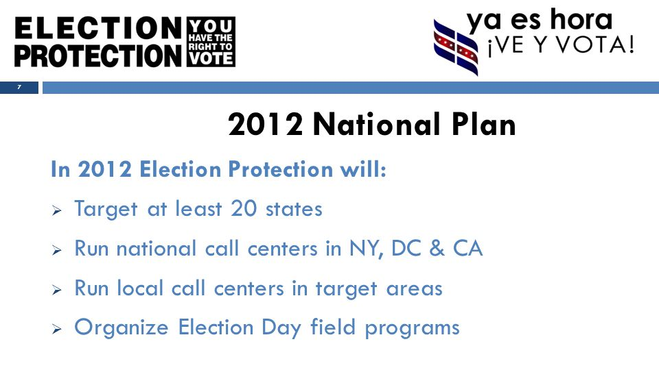 ELECTION PROTECTION HAS TWO PHASES: PRE-ELECTION DAY AND ELECTION DAY 8