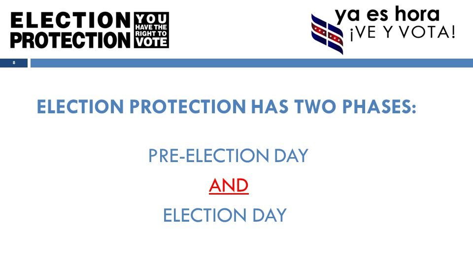 Election Day Program Overview:  866 & 888 Hotlines  Our Vote Live (OVL)  Field Program  Problem-Solving Flow Chart 9