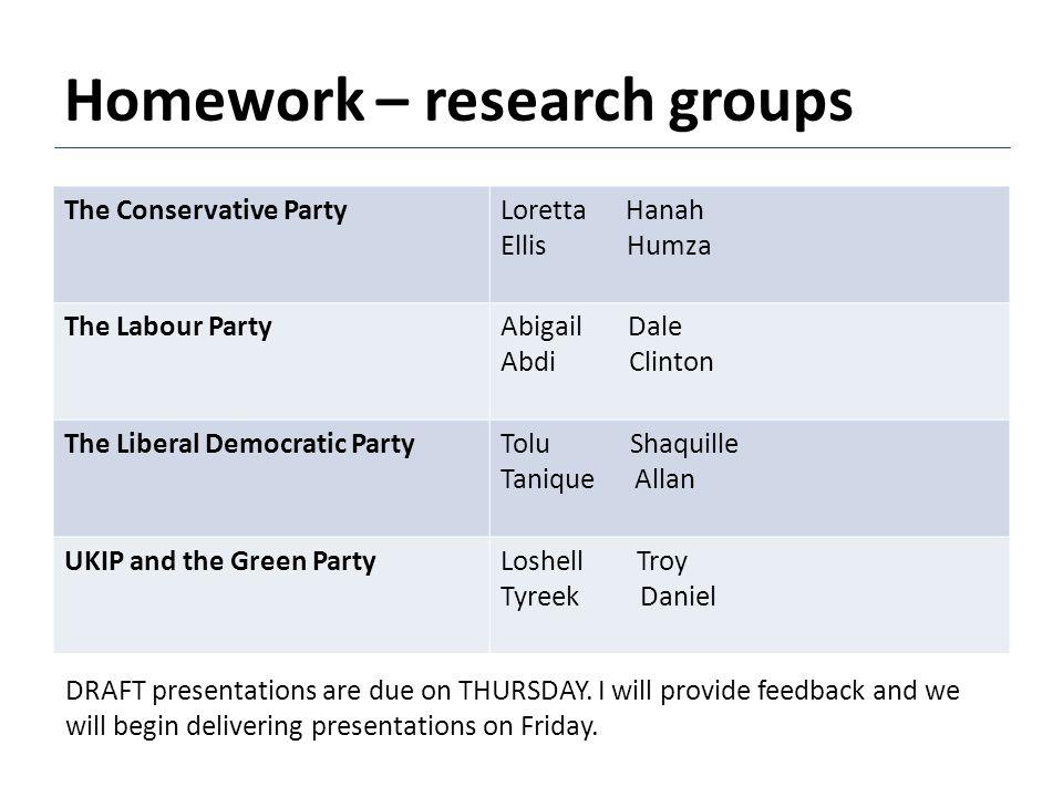Homework – research groups The Conservative PartyLoretta Hanah Ellis Humza The Labour PartyAbigail Dale Abdi Clinton The Liberal Democratic PartyTolu