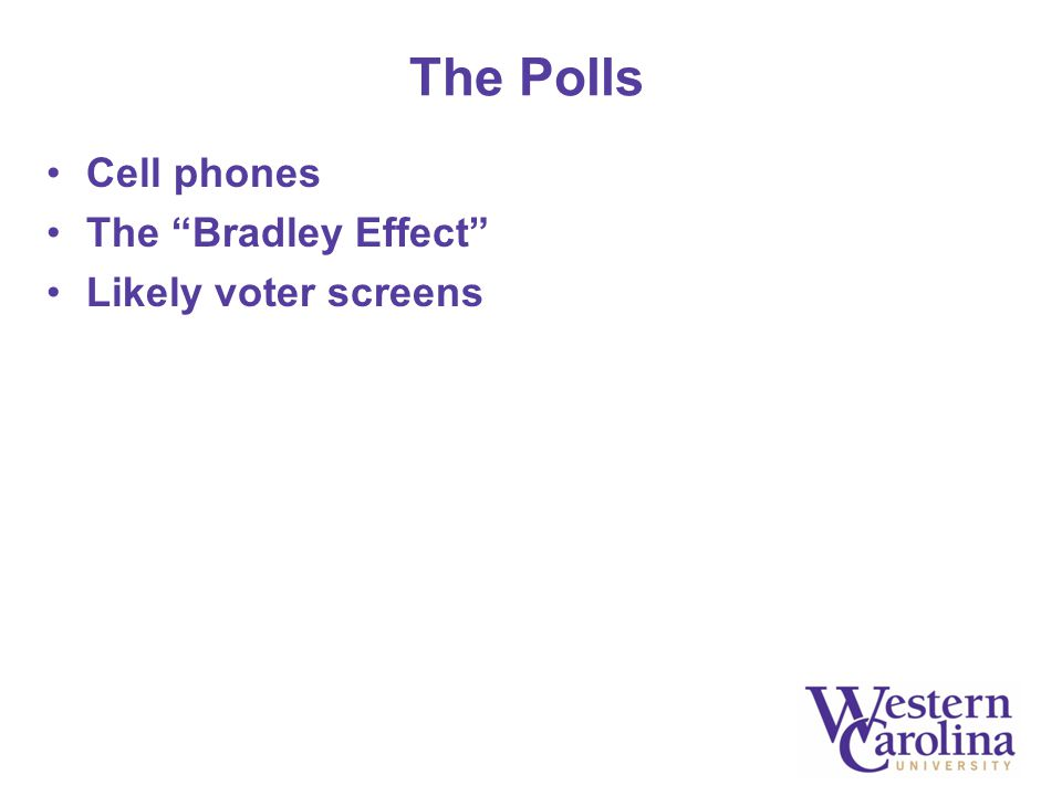 "The Polls Cell phones The ""Bradley Effect"" Likely voter screens"
