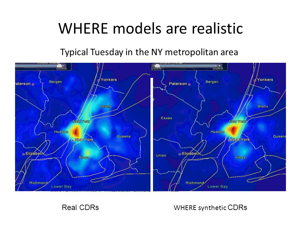 WHERE models are realistic Real CDRs WHERE2 synthetic CDRs Typical Tuesday in the NY metropolitan area WHERE synthetic CDRs
