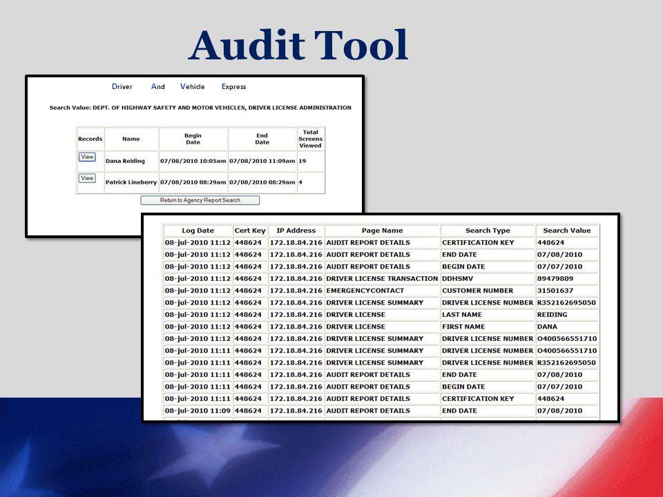 Audit Tool D river A nd V ehicle E xpress