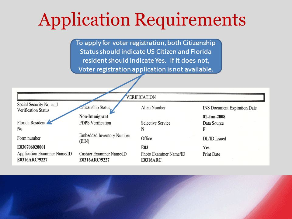 Application Requirements To apply for voter registration, both Citizenship Status should indicate US Citizen and Florida resident should indicate Yes.