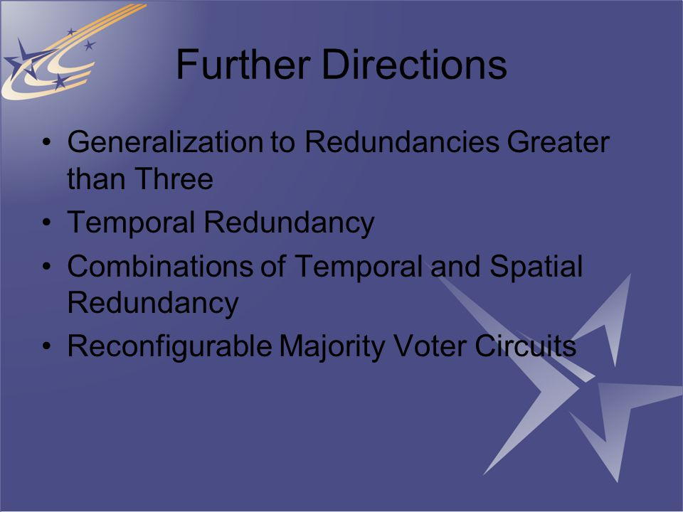 Further Directions Generalization to Redundancies Greater than Three Temporal Redundancy Combinations of Temporal and Spatial Redundancy Reconfigurable Majority Voter Circuits