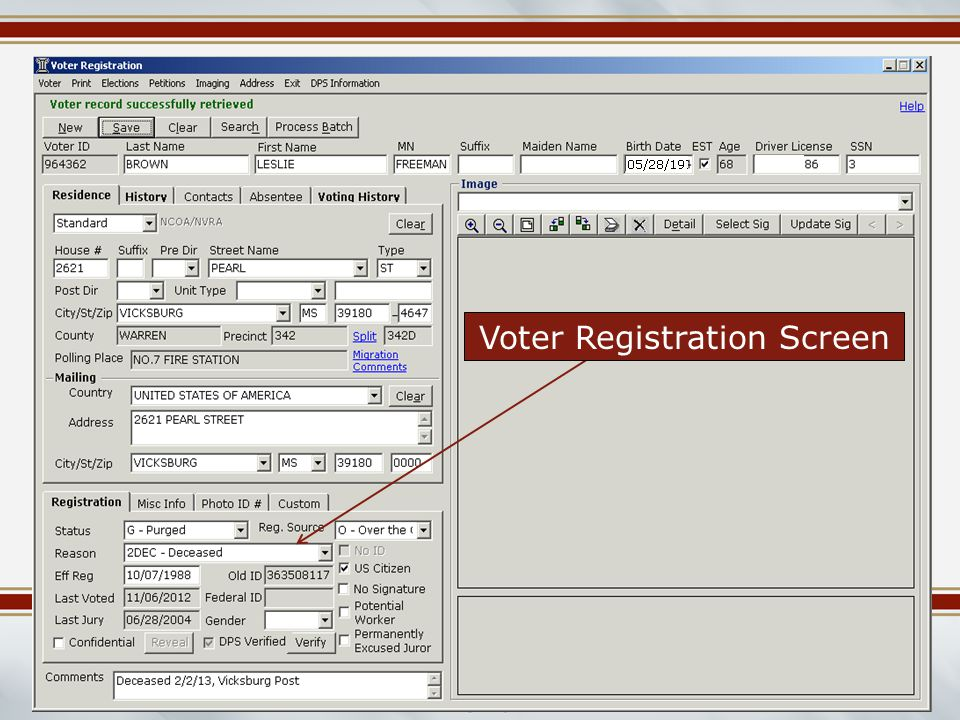 Mississippi Election Commissioners Summer Workshop June 2014 Voter Registration Screen