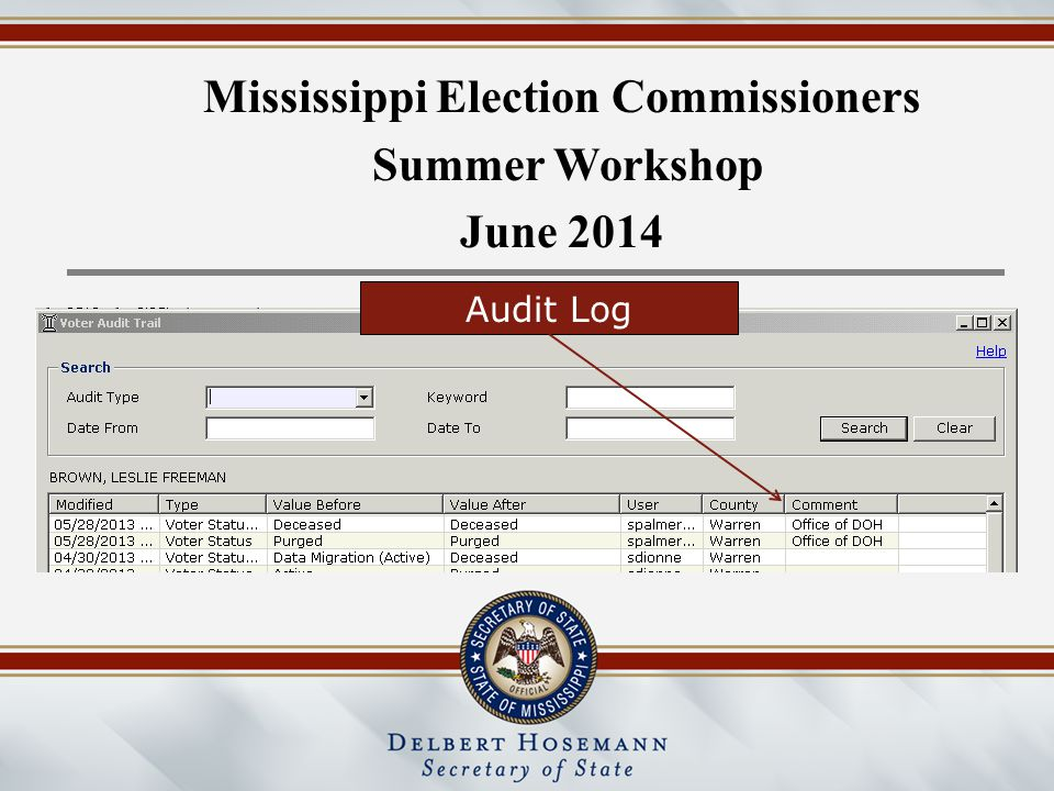 Mississippi Election Commissioners Summer Workshop June 2014 Audit Log