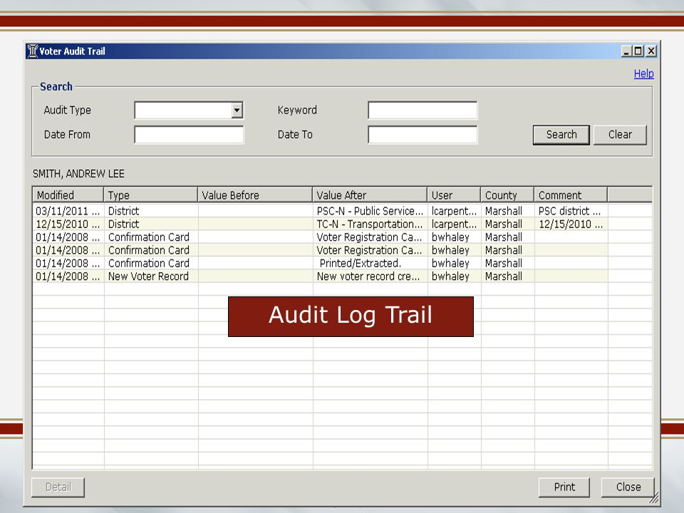 Mississippi Election Commissioners Summer Workshop June 2014 Audit Log Trail