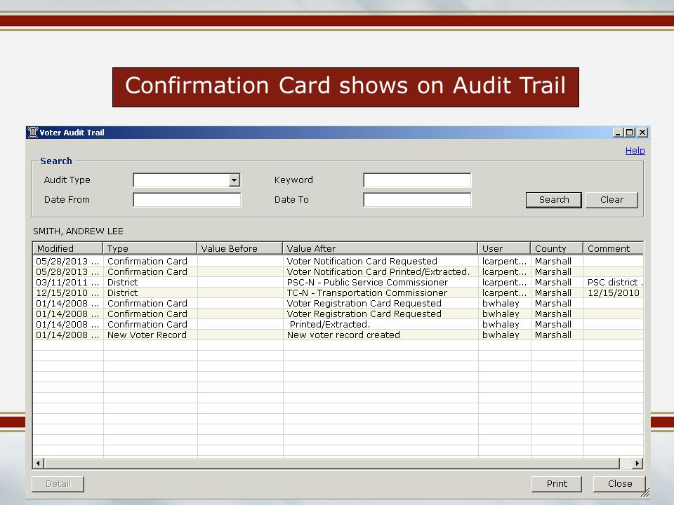 Mississippi Election Commissioners Summer Workshop June 2014 Confirmation Card shows on Audit Trail