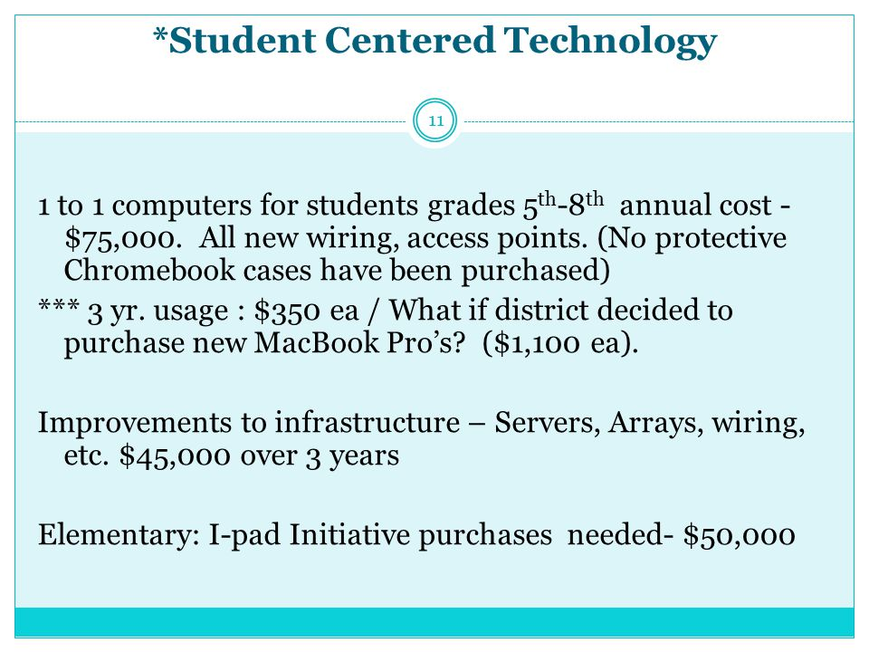 *Student Centered Technology 1 to 1 computers for students grades 5 th -8 th annual cost - $75,000.